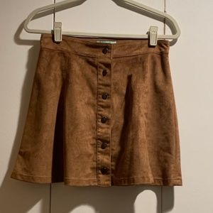 Tan Sueded Button-Front Skirt